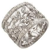 130 ctw Certified VSSI Diamond Ring 18K White  Gold