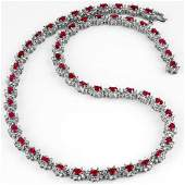 2710 ctw Ruby  Diamond Necklace 18K White  Gold