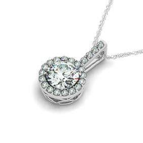 1.5 CTW VS/SI Diamond Solitaire Halo Necklace 14K Gold