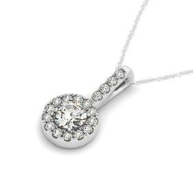 2 CTW Certified VS/SI Diamond Solitaire Halo Necklace