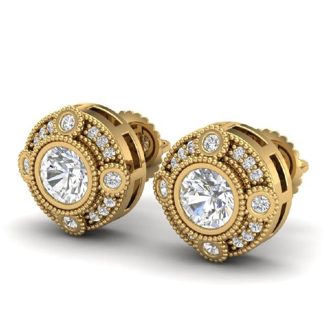 1.5 CTW VS/SI Diamond Solitaire Art Deco Stud Earring