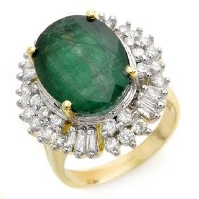 11.75 CTW Emerald & Diamond Ring 14K Yellow Gold