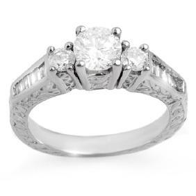 1.01 CTW Certified VS/SI Diamond Ring 18K White Gold