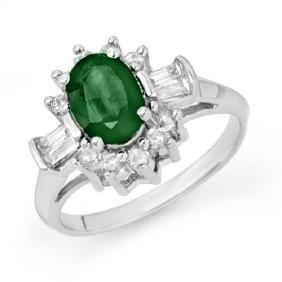 1.74 CTW Emerald & Diamond Ring 18K White Gold
