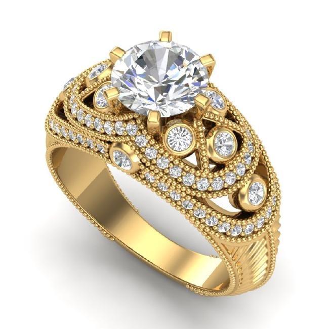 2 CTW VS/SI Diamond Solitaire Art Deco Ring 18K Gold