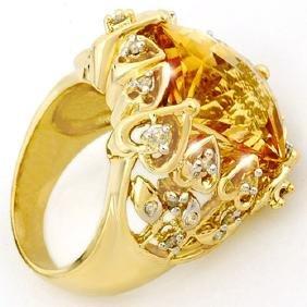 11.40 CTW Citrine & Diamond Ring 10K Yellow Gold