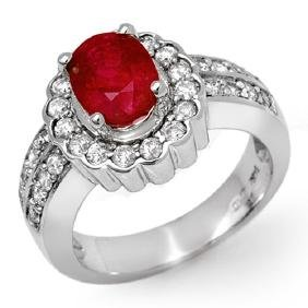 2.25 CTW Ruby & Diamond Ring 18K White Gold