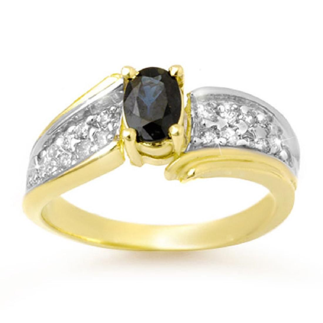 1.40 CTW Blue Sapphire & Diamond Ring 10K Yellow Gold