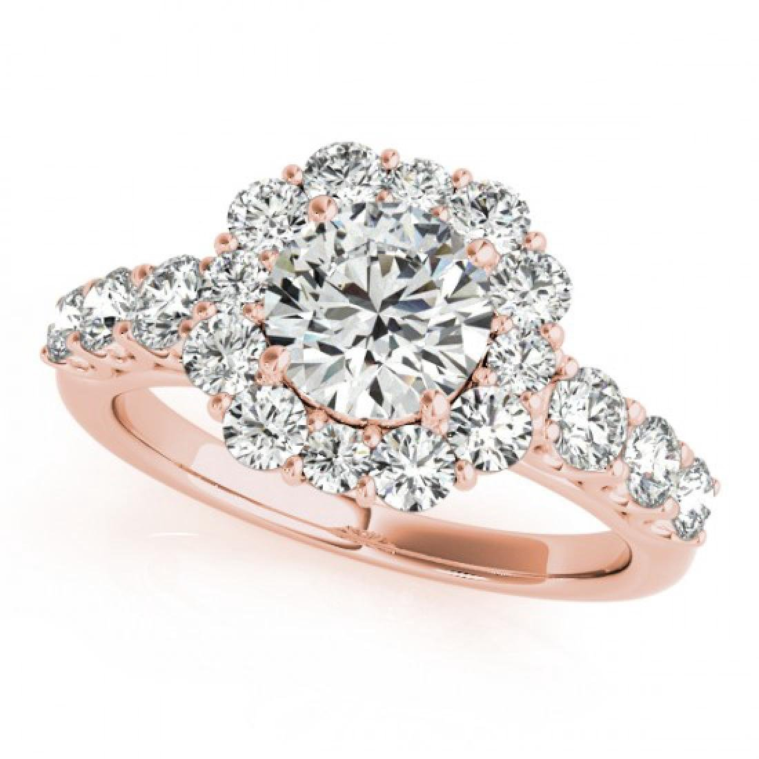2.9 CTW Certified VS/SI Diamond Solitaire Halo Ring 18K