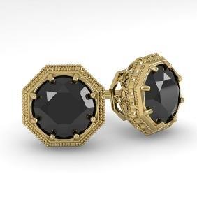 1.0 CTW Black Diamond Stud Solitaire Earring 18K Art
