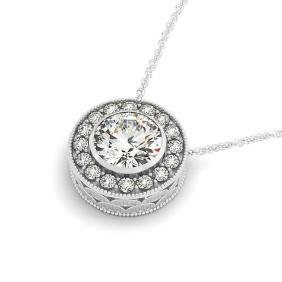 1 CTW Certified SI Diamond Solitaire Halo Necklace 14K