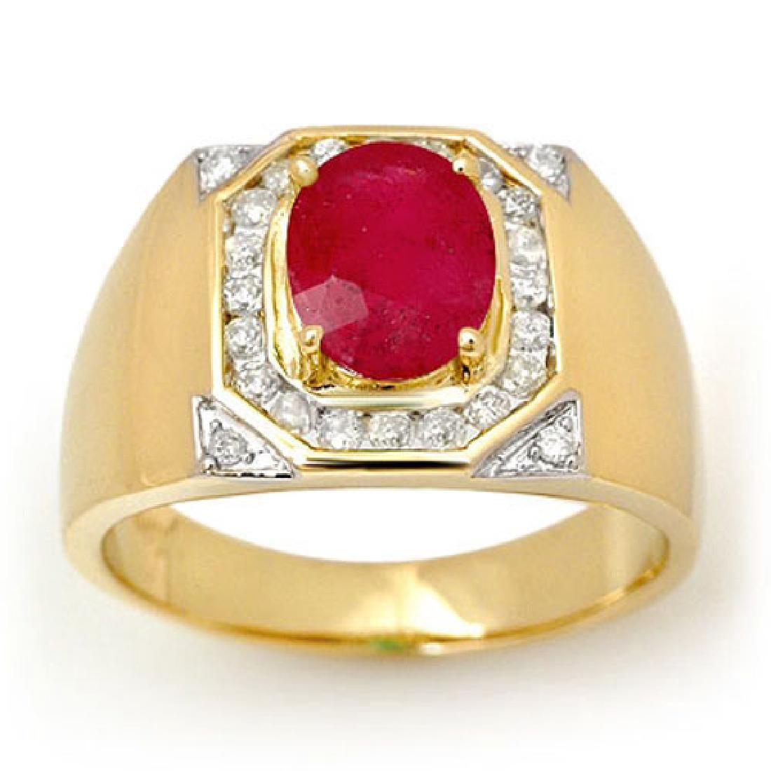 3.60 CTW Ruby & Diamond Mens Ring 14K Yellow Gold -