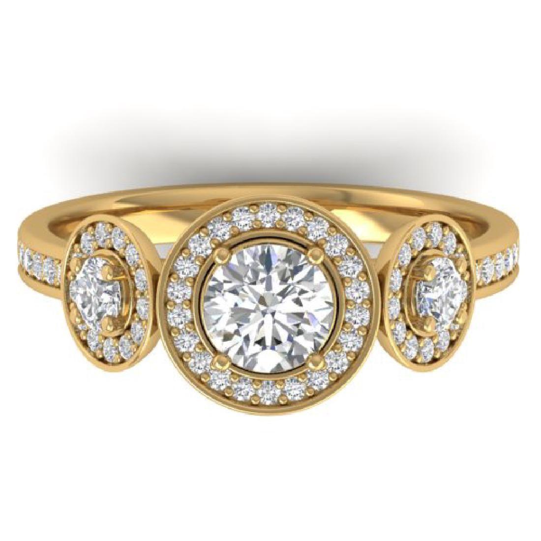 1.25 CTW Certified VS/SI Diamond Art Deco 3 Stone Micro