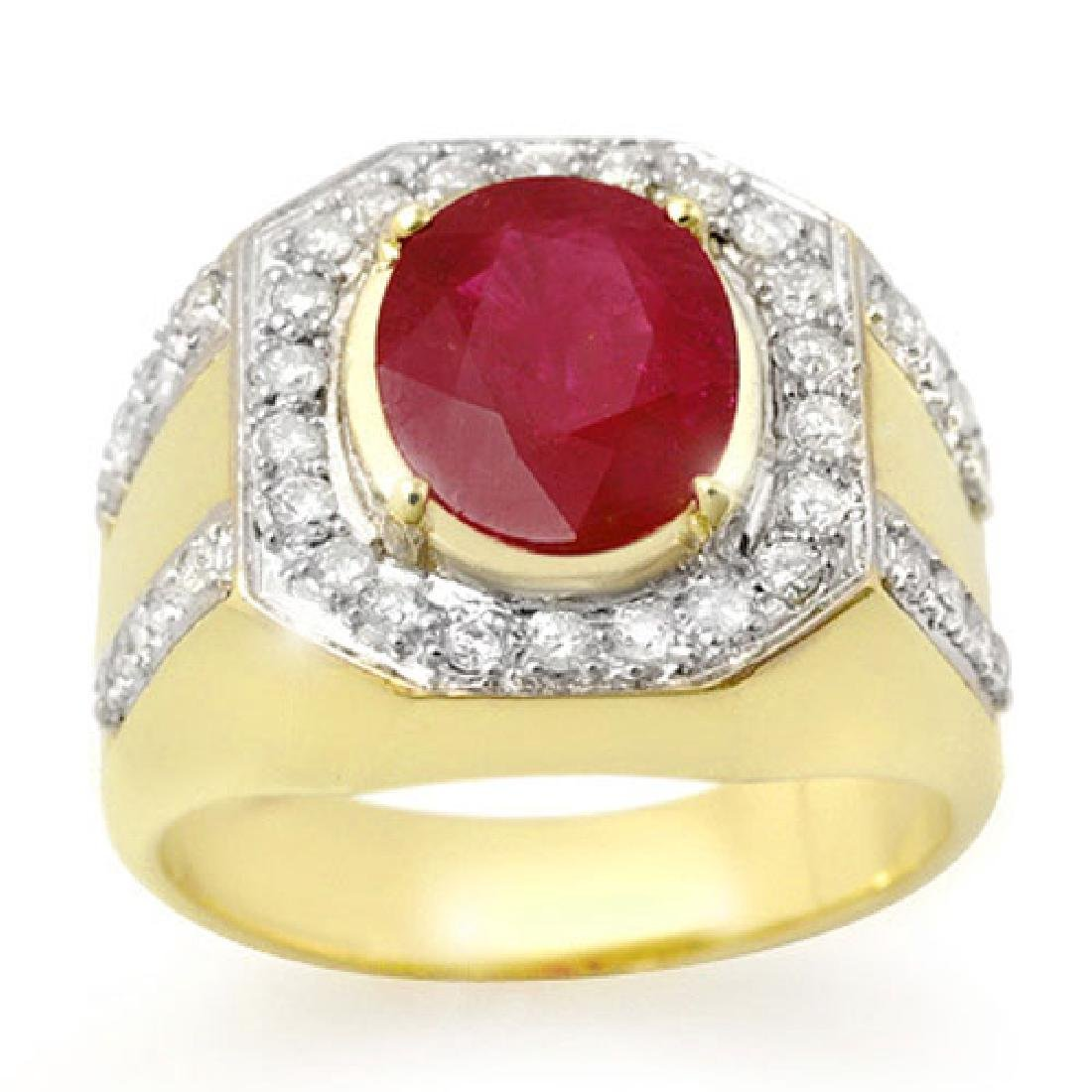 4.75 CTW Ruby & Diamond Mens Ring 10K Yellow Gold -