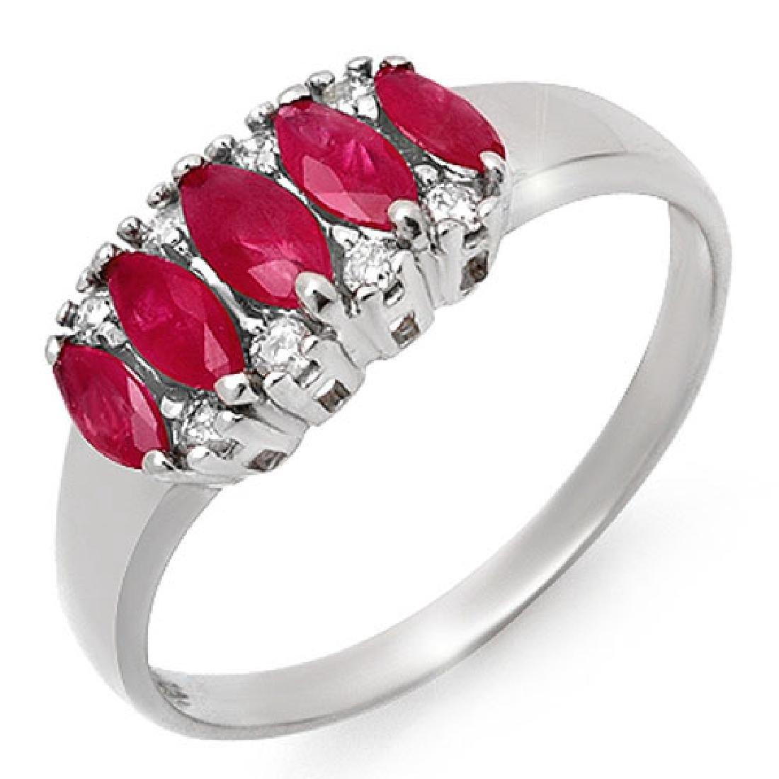 0.77 CTW Ruby & Diamond Ring 18K White Gold - REF-37K3R
