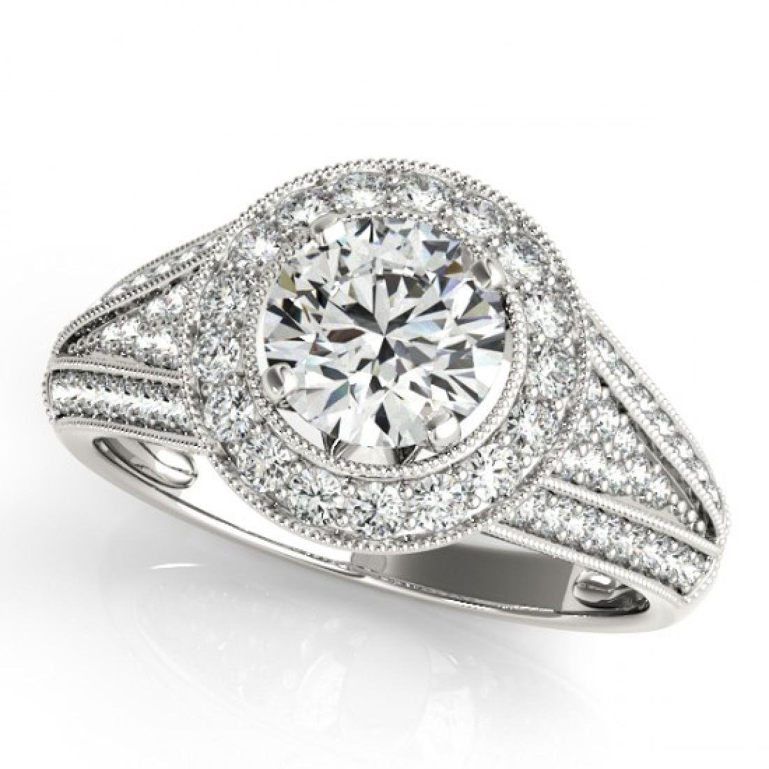 1.7 CTW Certified VS/SI Diamond Solitaire Halo Ring 18K