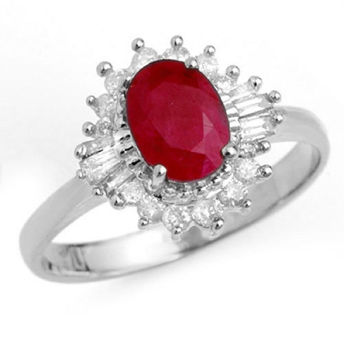 1.55 CTW Ruby & Diamond Ring 18K White Gold - REF-47R8K