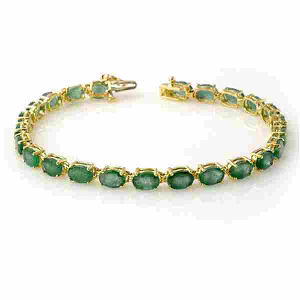 14.0 CTW Emerald Bracelet 10K Yellow Gold - REF-105X5T