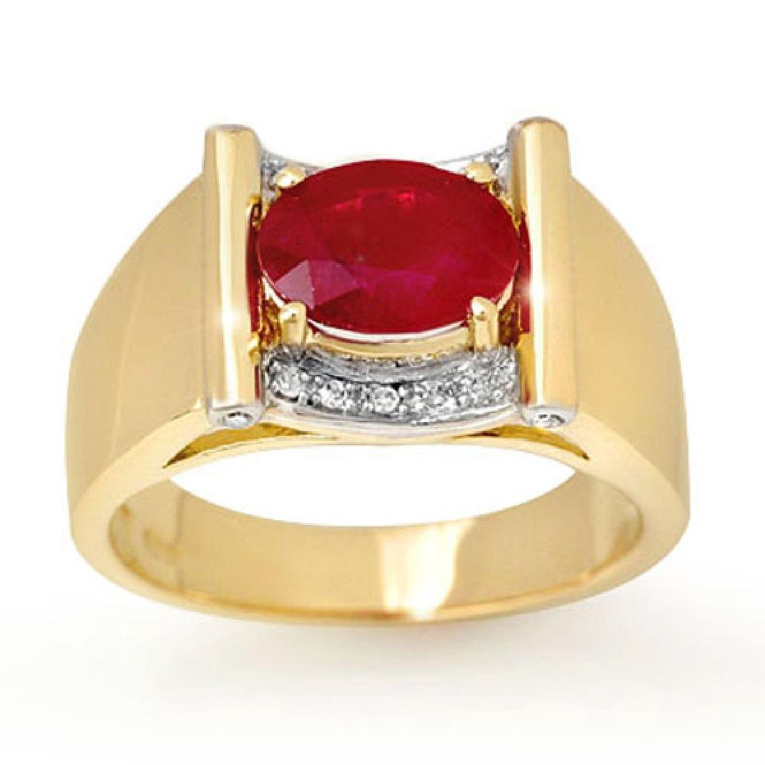 2.33 CTW Ruby & Diamond Mens Ring 10K Yellow Gold -