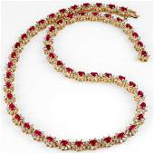 27.10 CTW Ruby & Diamond Necklace 14K Yellow Gold