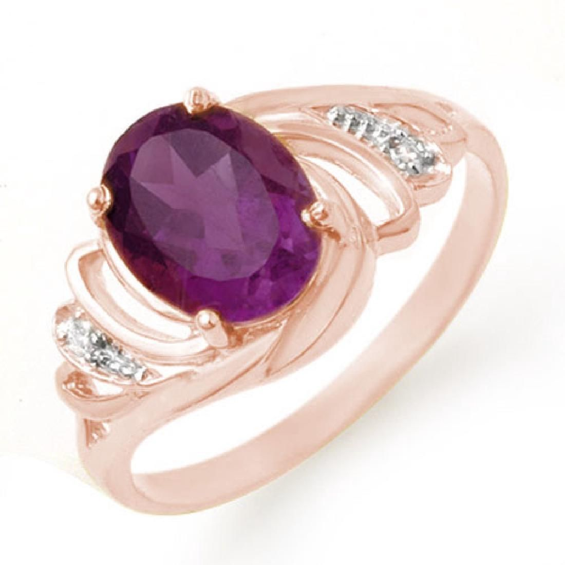 148 CTW Amethyst Diamond Ring 14K Rose Gold