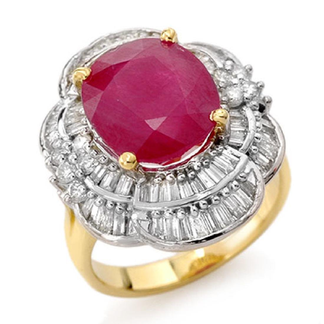 5.59 CTW Ruby & Diamond Ring 14K Yellow Gold