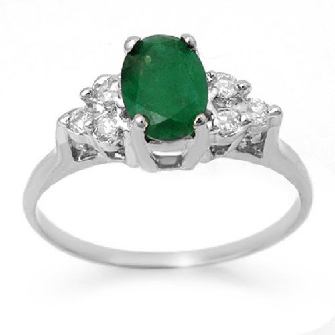 1.18 CTW Emerald & Diamond Ring 18K White Gold