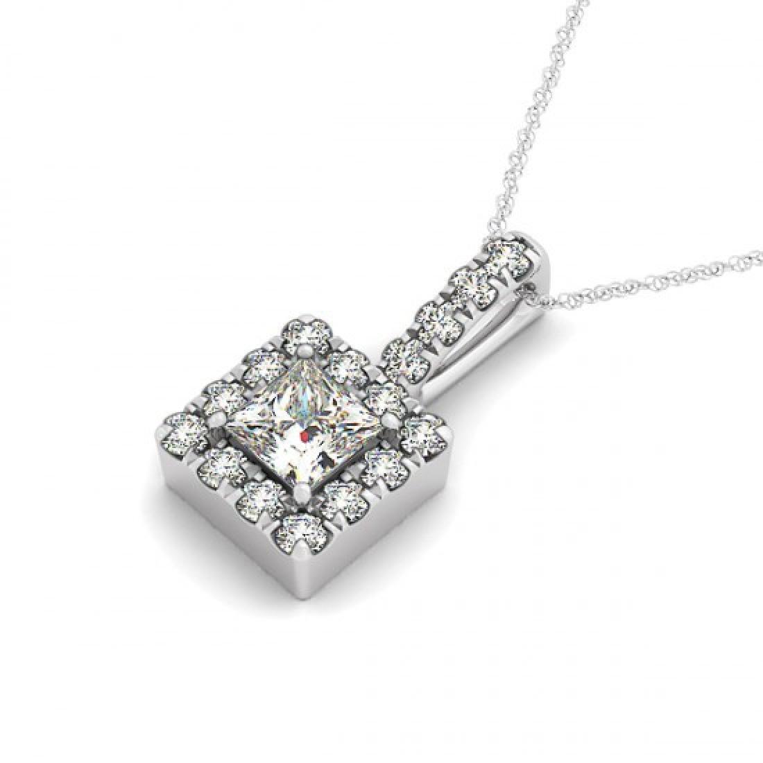 1.75 CTW Princess VS/SI Diamond Solitaire Halo Necklace
