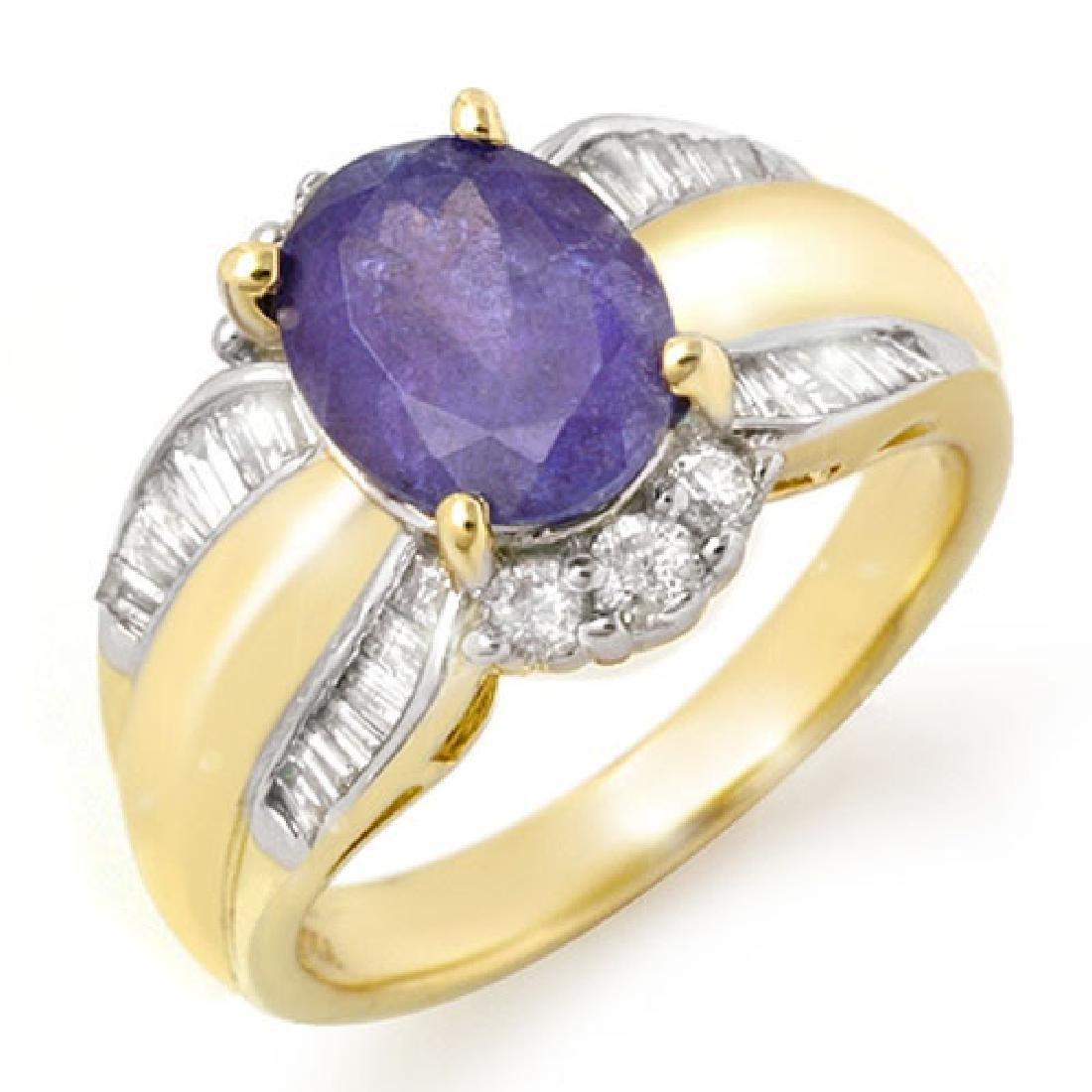 3.52 CTW Tanzanite & Diamond Ring 14K Yellow Gold