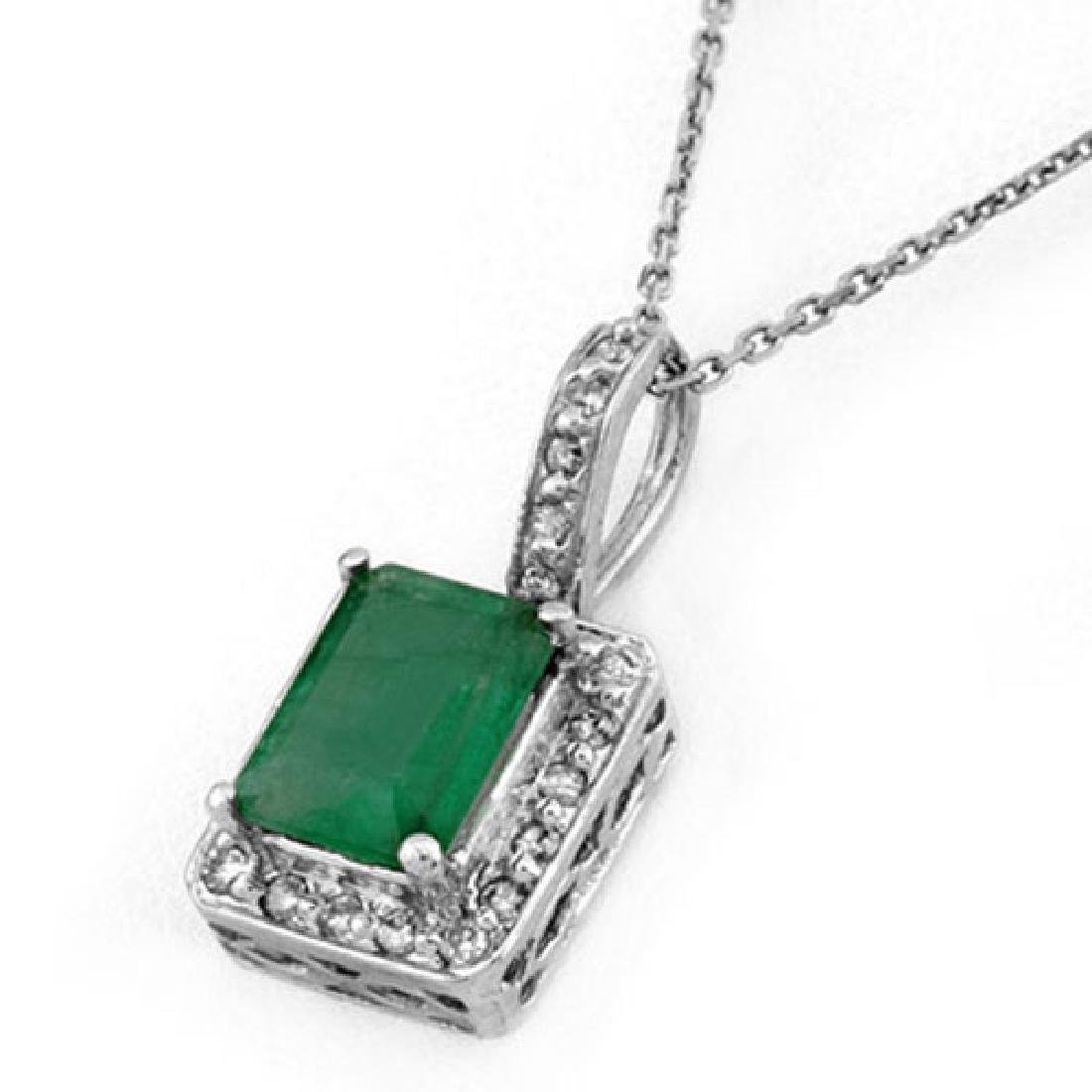 1.75 CTW Emerald & Diamond Necklace 18K White Gold