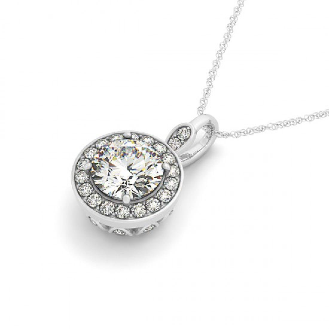 0.75 CTW Certified SI Diamond Solitaire Halo Necklace