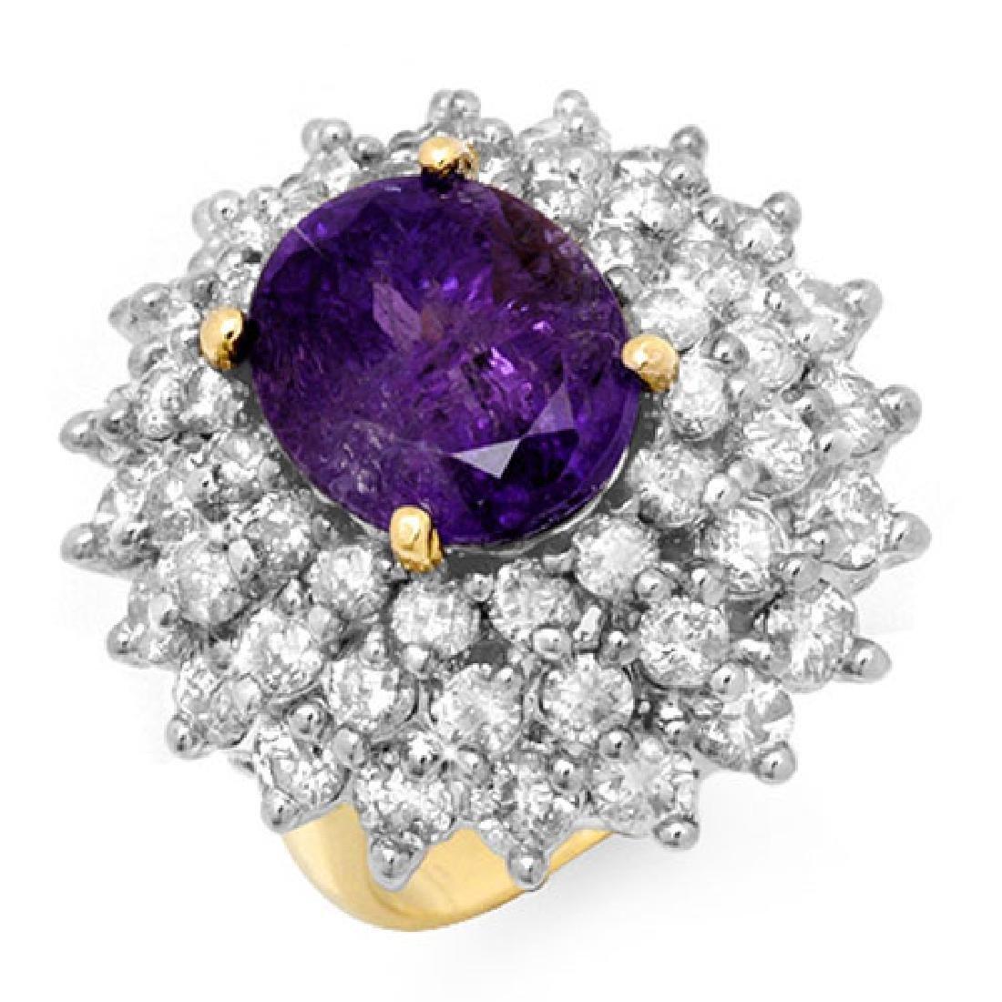 12.50 CTW Tanzanite & Diamond Ring 14K Yellow Gold