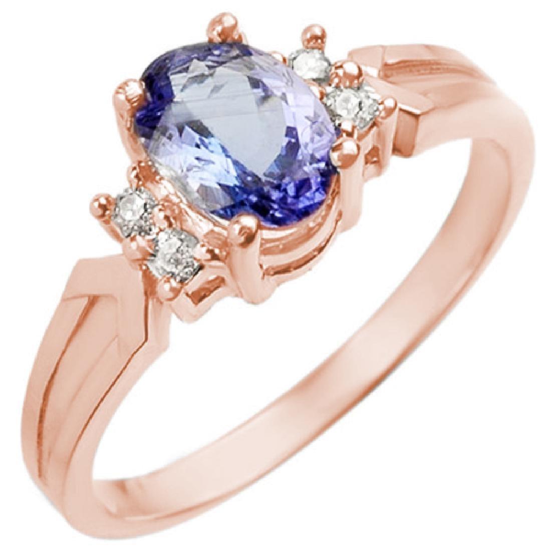 1.10 CTW Tanzanite & Diamond Ring 14K Rose Gold