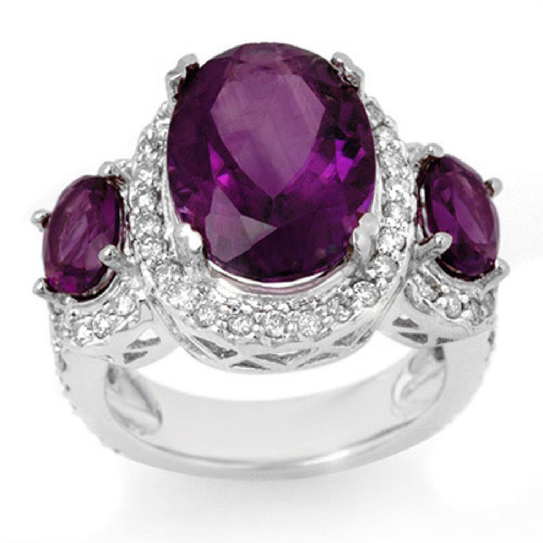 8.0 CTW Amethyst & Diamond Ring 10K White Gold