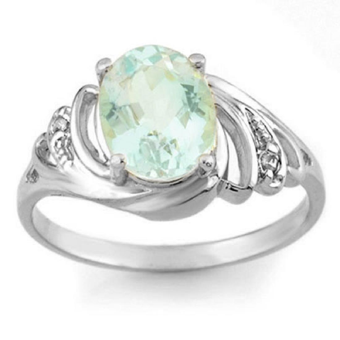 2.04 CTW Aquamarine & Diamond Ring 18K White Gold