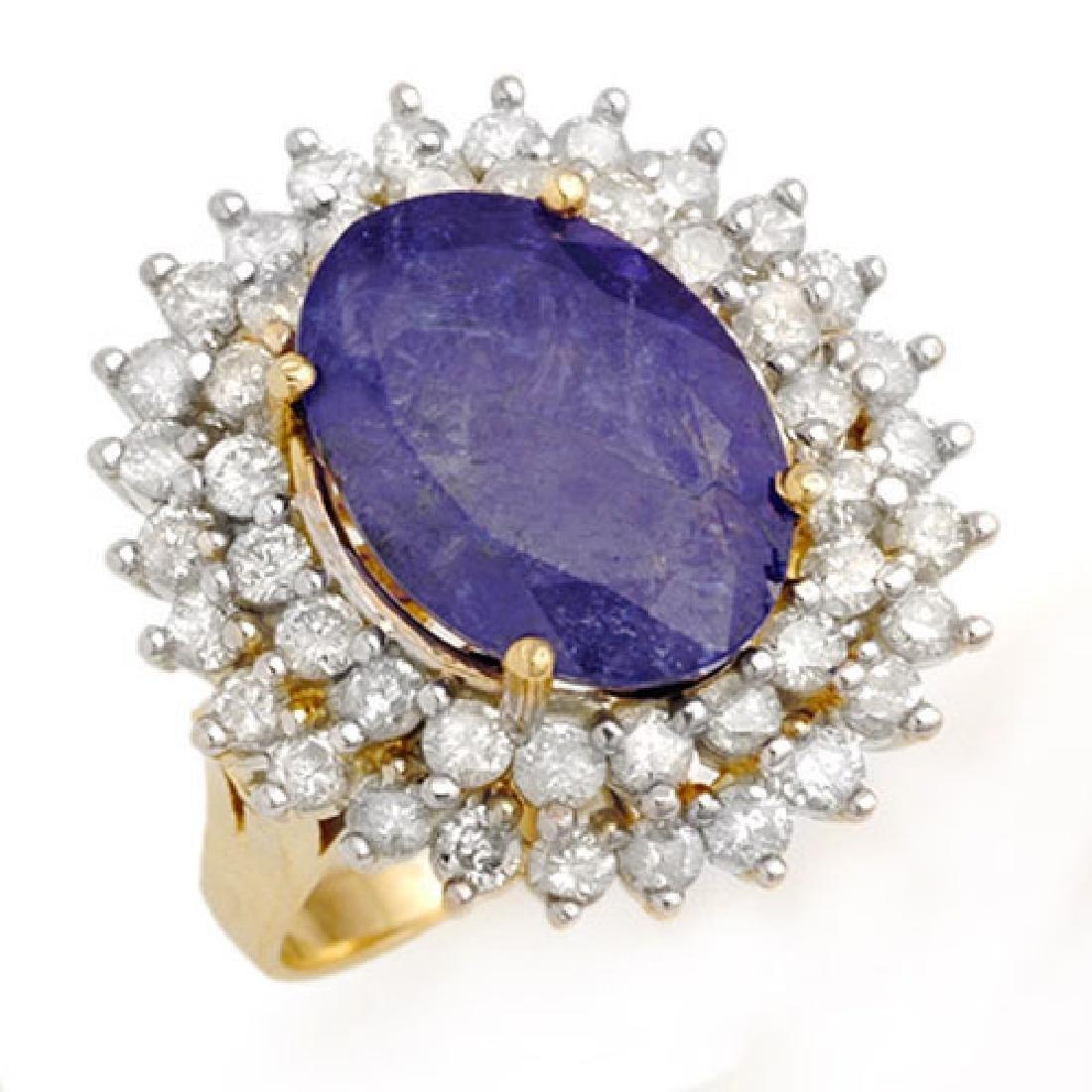 8.78 CTW Tanzanite & Diamond Ring 14K Yellow Gold