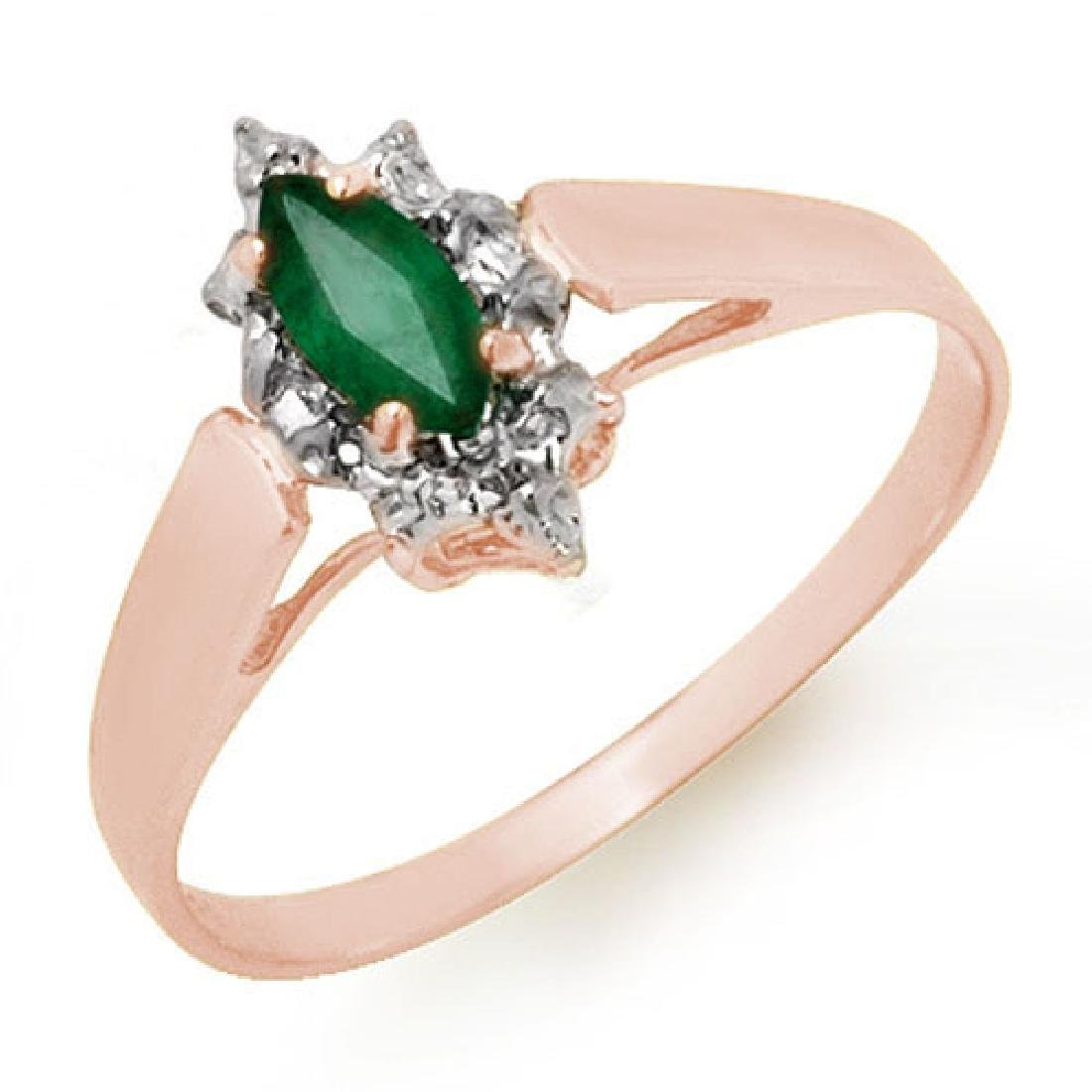 0.25 CTW Emerald Ring 18K Rose Gold