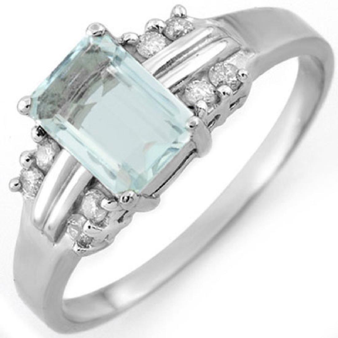 1.41 CTW Aquamarine & Diamond Ring 18K White Gold