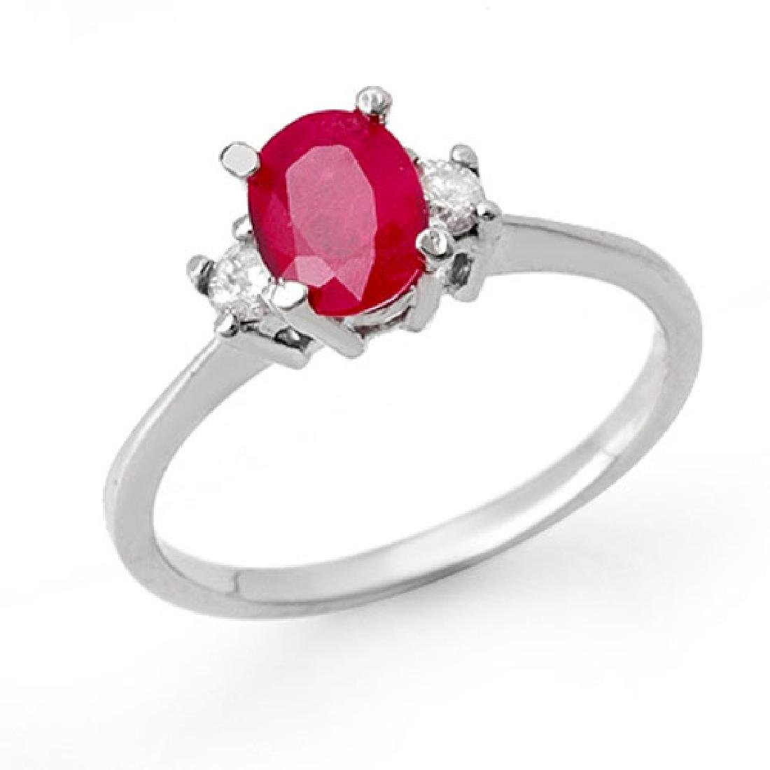 1.36 CTW Ruby & Diamond Ring 10K White Gold