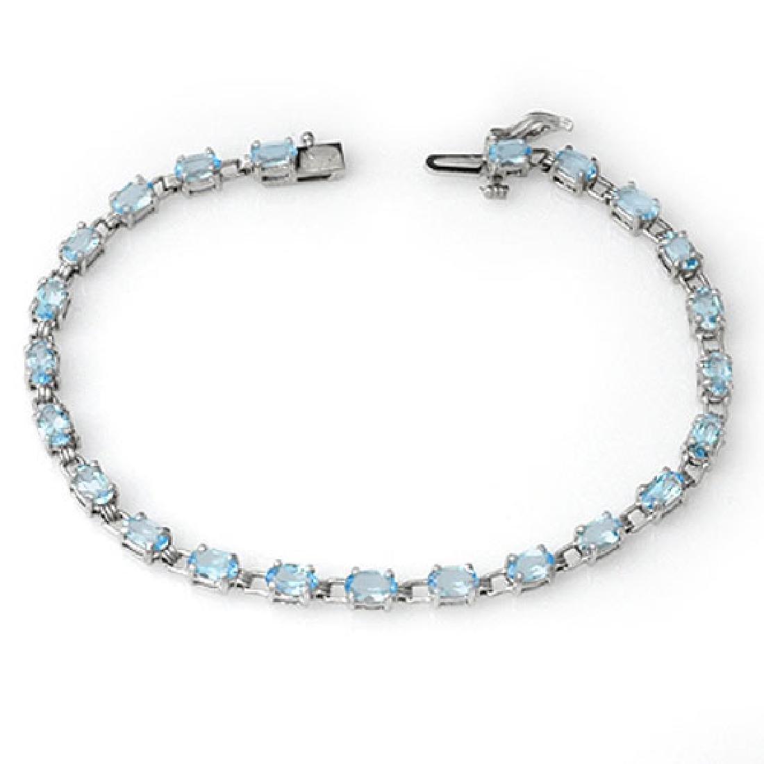8.08 CTW Blue Topaz Bracelet 10K White Gold
