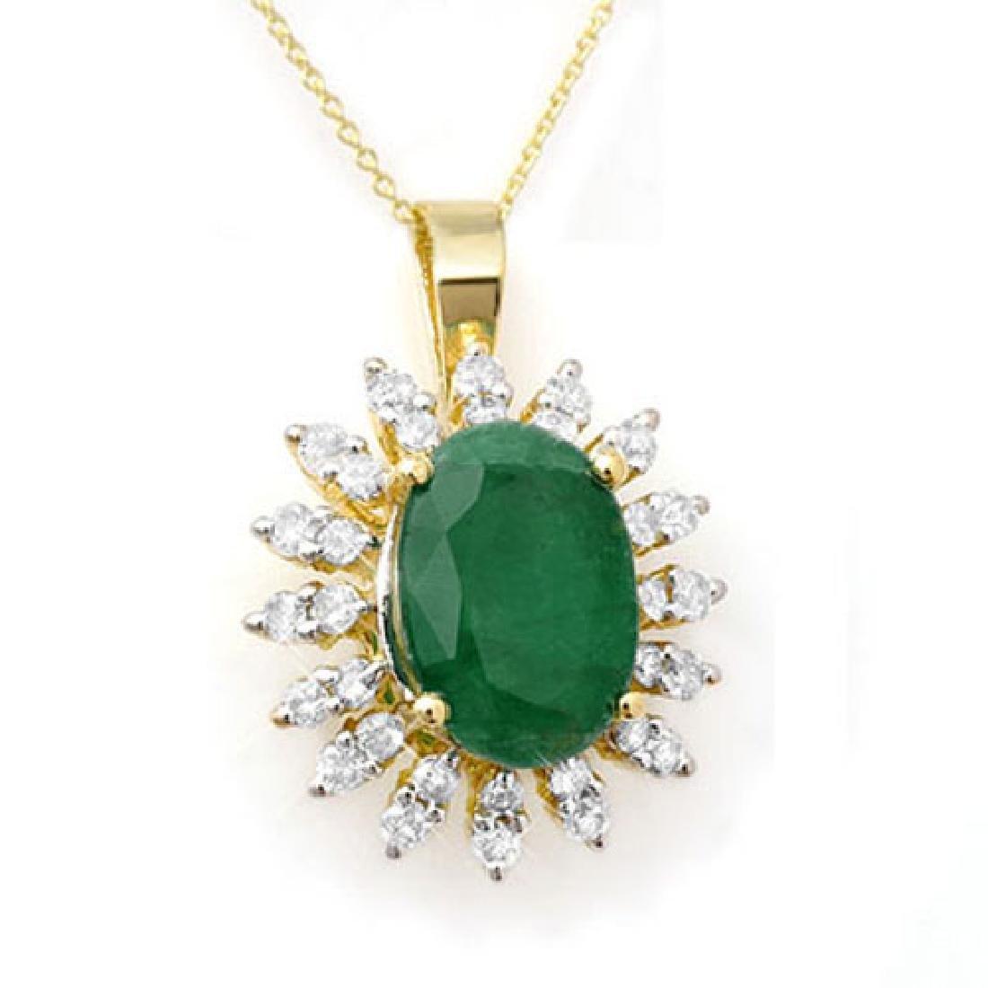 6.21 CTW Emerald & Diamond Pendant 14K Yellow Gold