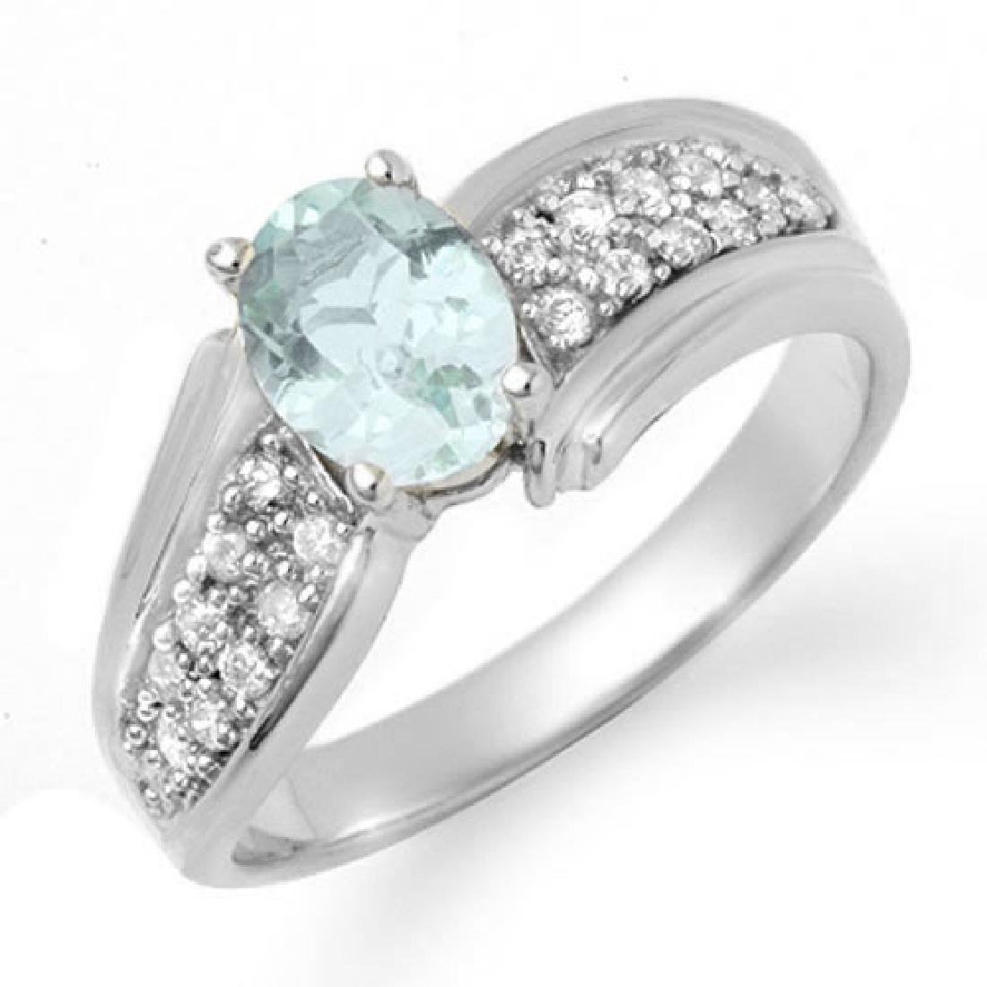 1.20 CTW Aquamarine & Diamond Ring 18K White Gold