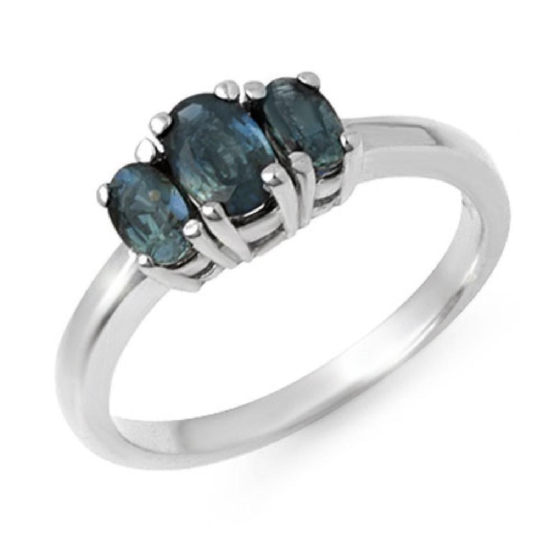 1.0 CTW Blue Sapphire Ring 18K White Gold