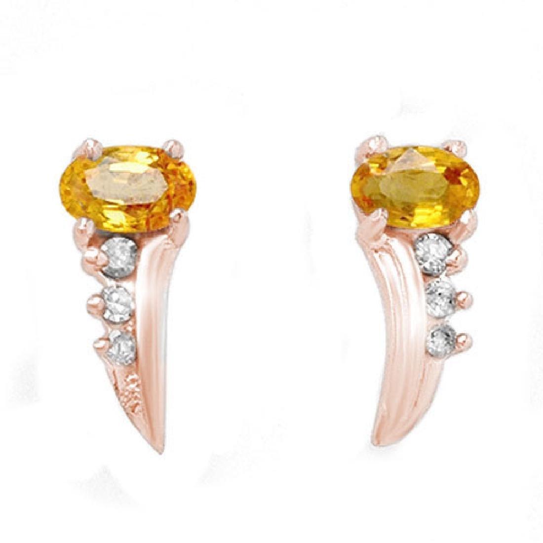 0.80 CTW Yellow Sapphire & Diamond Earrings 14K Rose