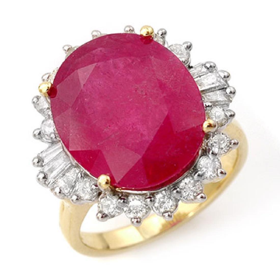 13.12 CTW Ruby & Diamond Ring 14K Yellow Gold
