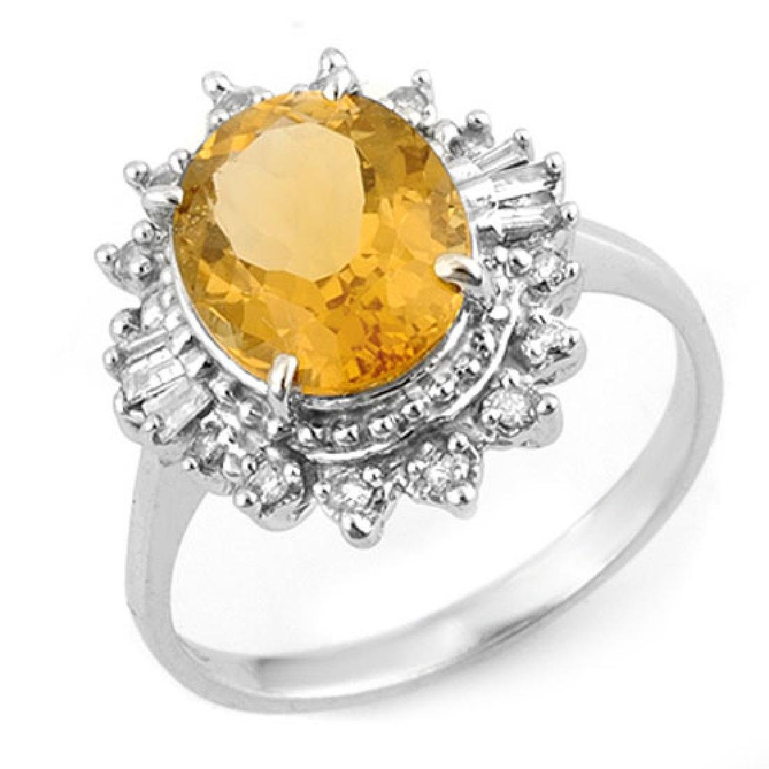3.45 CTW Citrine & Diamond Ring 18K White Gold