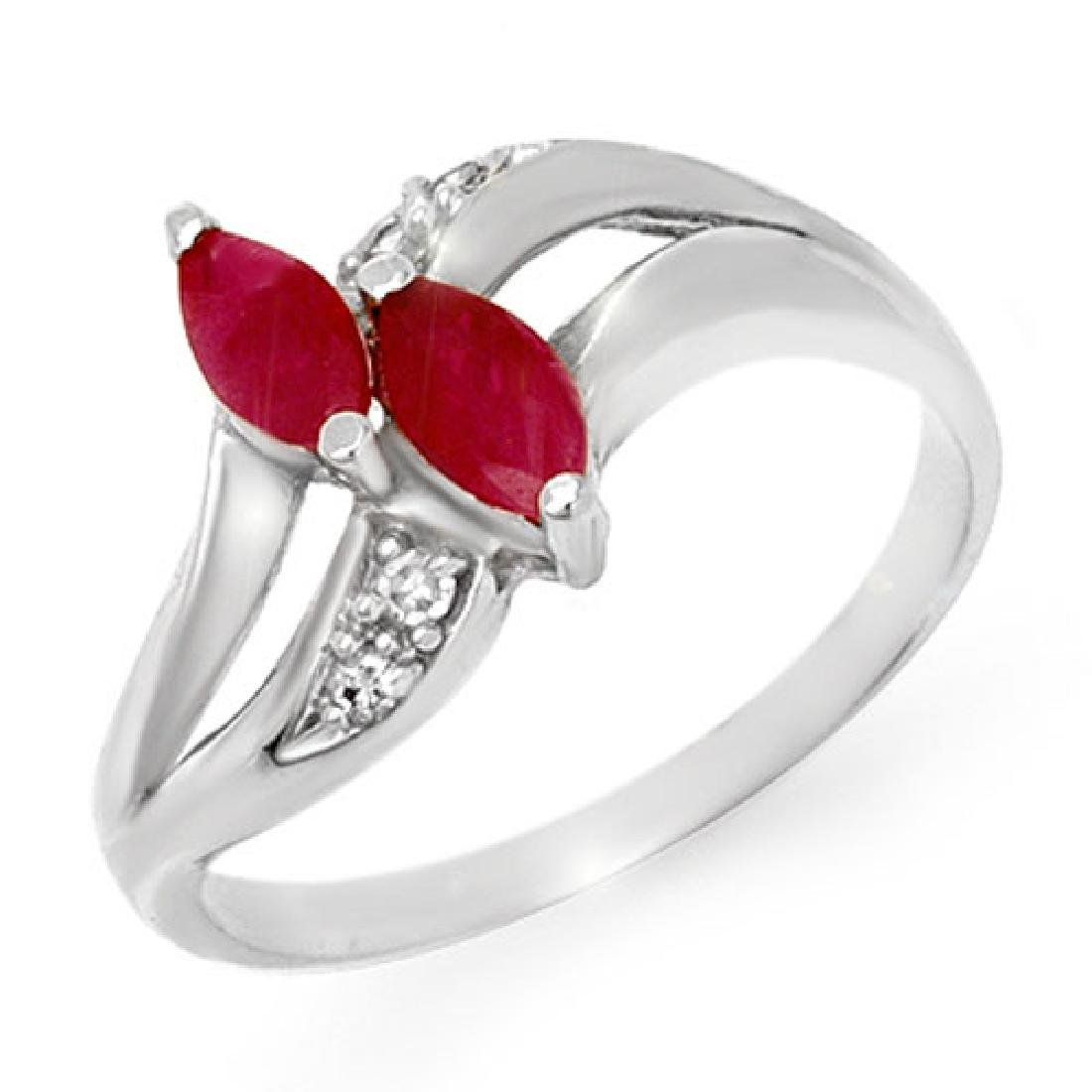 0.62 CTW Ruby & Diamond Ring 10K White Gold