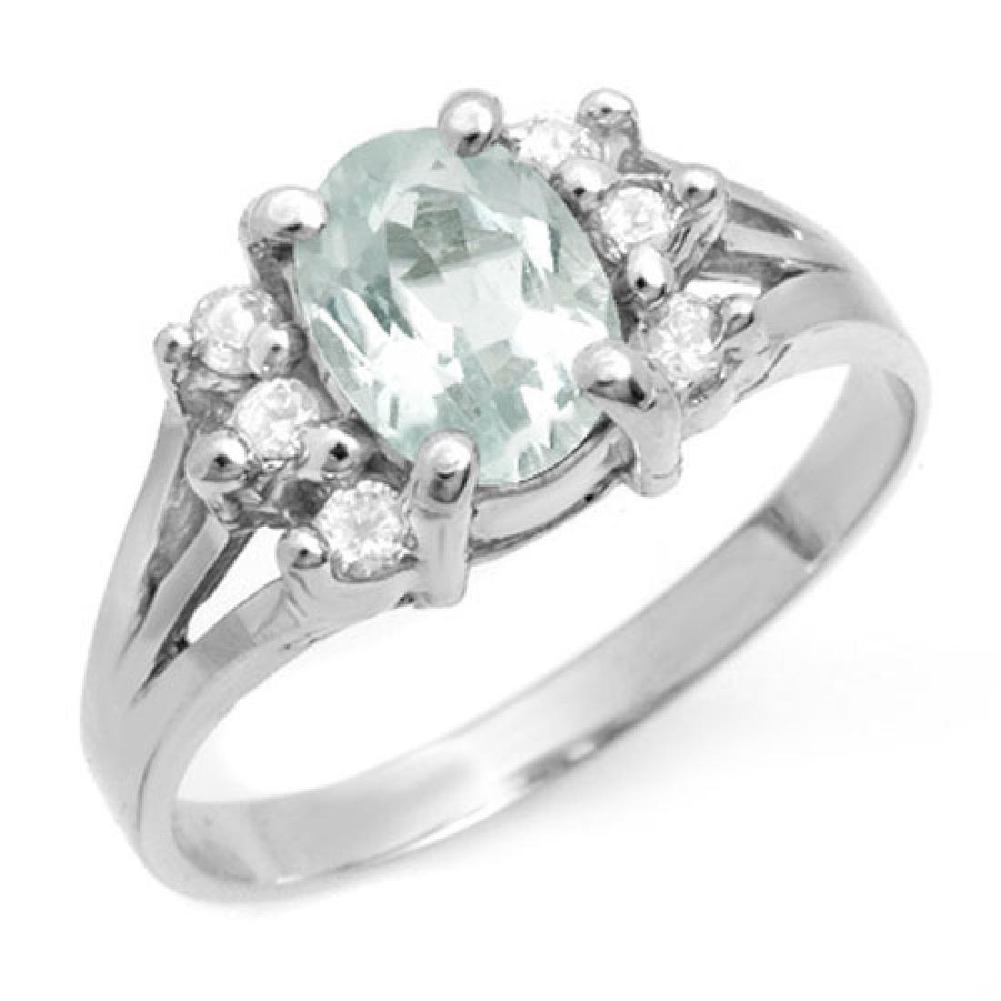 1.43 CTW Aquamarine & Diamond Ring 18K White Gold