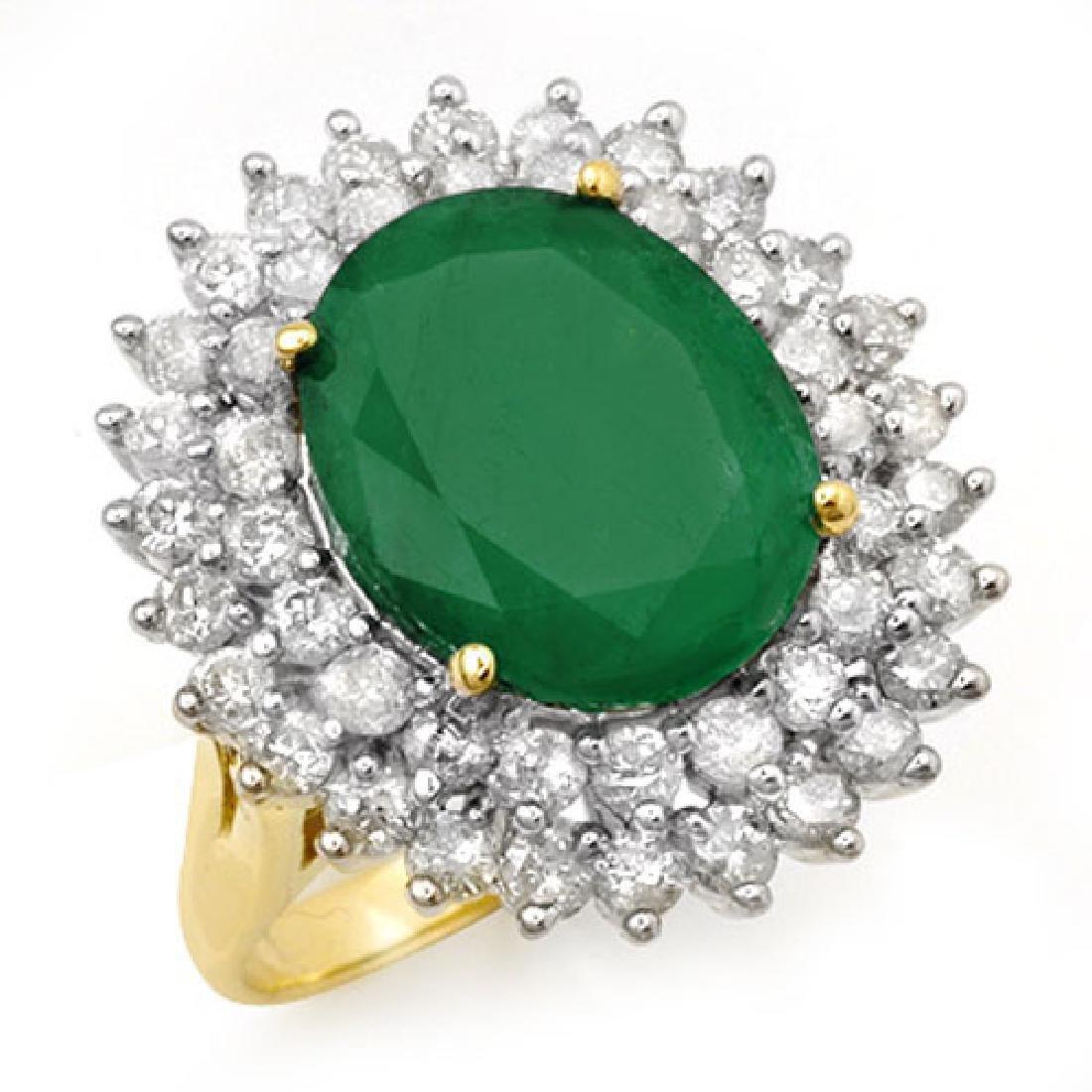 10.83 CTW Emerald & Diamond Ring 14K Yellow Gold
