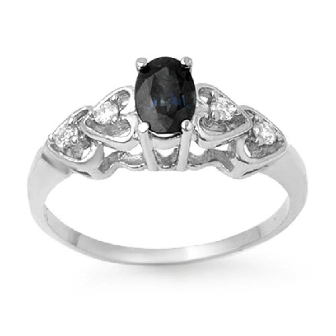 0.57 CTW Blue Sapphire & Diamond Ring 10K White Gold